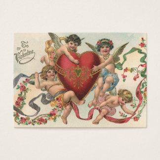 Vintage Victorian Valentines, Cherubs Angels Heart Business Card