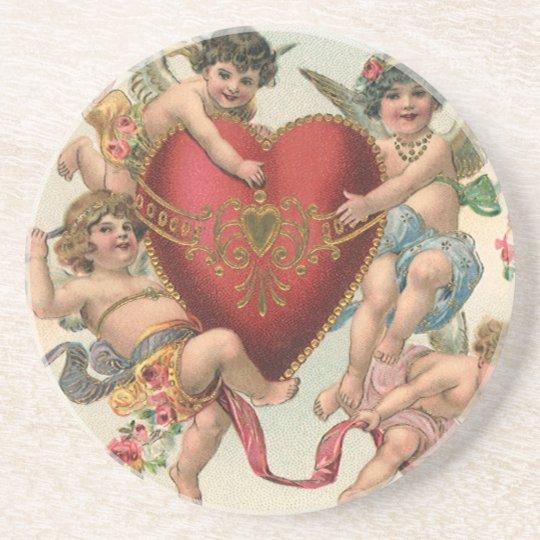 Vintage Victorian Valentines, Cherubs Angels Heart Drink Coaster