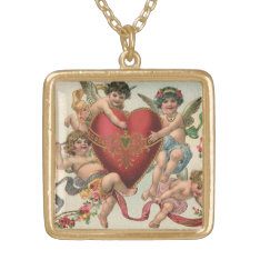 Vintage Victorian Valentines, Cherubs Angels Heart Gold Plated Necklace at Zazzle