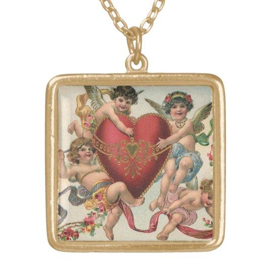 Vintage Victorian Valentines, Cherubs Angels Heart Gold Plated Necklace