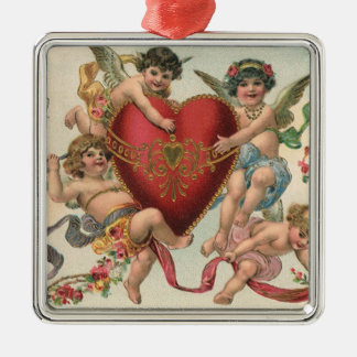 Vintage Victorian Valentines, Cherubs Angels Heart Metal Ornament