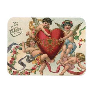 Vintage Victorian Valentines, Cherubs Angels Heart Rectangular Photo Magnet