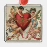 Vintage Victorian Valentines, Cherubs Angels Heart Square Metal Christmas Ornament