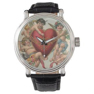 Vintage Victorian Valentines, Cherubs Angels Heart Watches