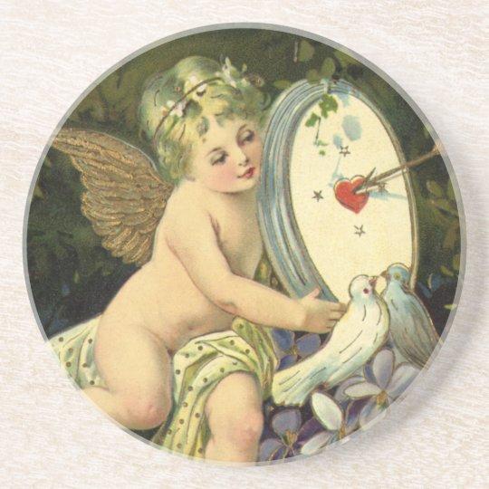Vintage Victorian Valentines Day, Angel Love birds Drink Coaster