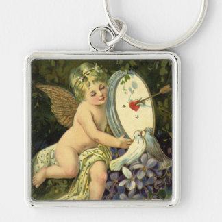 Vintage Victorian Valentines Day, Angel Love birds Keychain