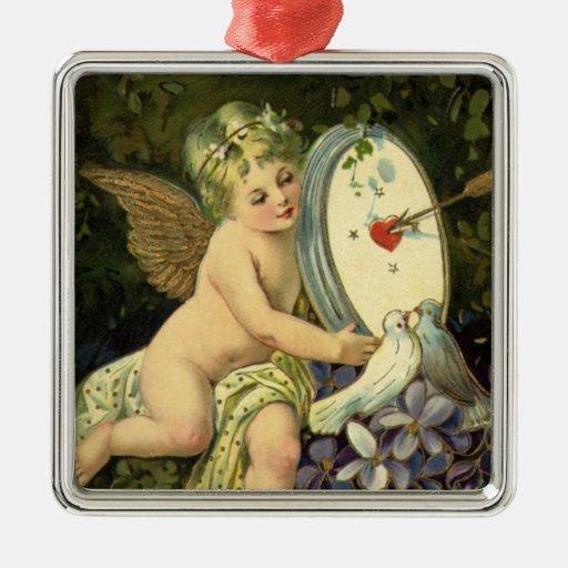 Vintage Victorian Valentines Day, Angel Love birds Metal Ornament
