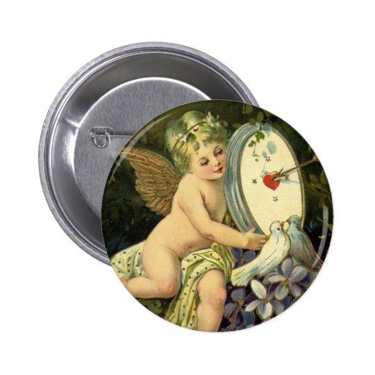 Vintage Victorian Valentines Day, Angel Love birds Pinback Button