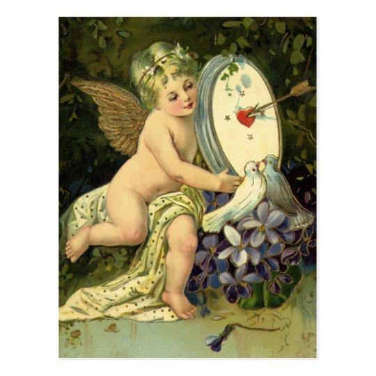 Vintage Victorian Valentines Day, Angel Love birds Postcard