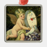 Vintage Victorian Valentines Day, Angel Love birds Square Metal Christmas Ornament