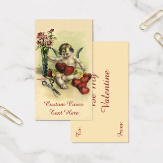 Vintage Victorian Valentine's Day Angel Seamstress Business Card