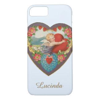 Vintage Victorian Valentine's Day, Angel w Heart iPhone 7 Case