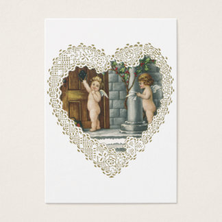 Vintage Victorian Valentine's Day, Angel w Letters Business Card