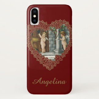 Vintage Victorian Valentine's Day, Angel w Letters iPhone X Case