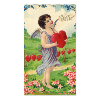Vintage Victorian Valentines Day, Angel with Heart Business Card