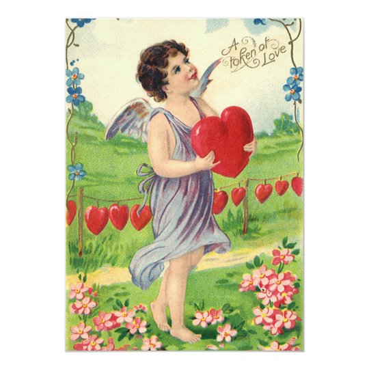 Vintage Victorian Valentines Day, Angel with Heart Card