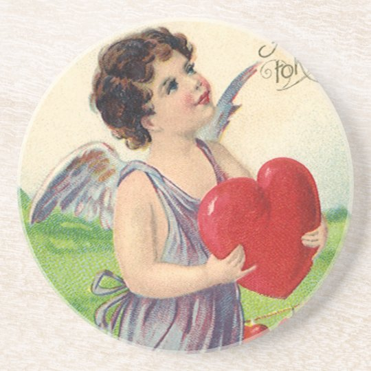 Vintage Victorian Valentines Day, Angel with Heart Coaster