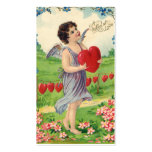 Vintage Victorian Valentines Day, Angel with Heart Double-Sided Standard Business Cards (Pack Of 100)