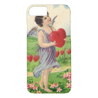 Vintage Victorian Valentines Day, Angel with Heart iPhone 7 Case