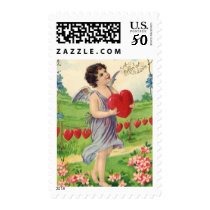 Vintage Victorian Valentines Day, Angel with Heart Postage