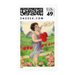 Vintage Victorian Valentines Day, Angel with Heart Postage Stamp