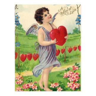 Vintage Victorian Valentines Day, Angel with Heart Postcard