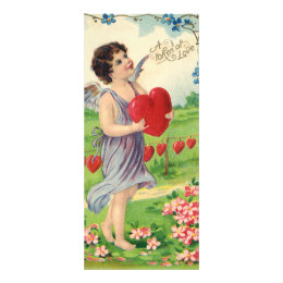 Vintage Victorian Valentines Day, Angel with Heart Rack Card