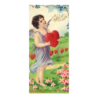 Vintage Victorian Valentines Day, Angel with Heart Rack Card Template