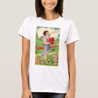 Vintage Victorian Valentines Day, Angel with Heart T-Shirt