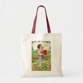 Vintage Victorian Valentines Day, Angel with Heart Tote Bag