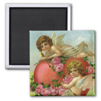 Vintage Victorian Valentines Day Angels Heart Rose 2 Inch Square Magnet