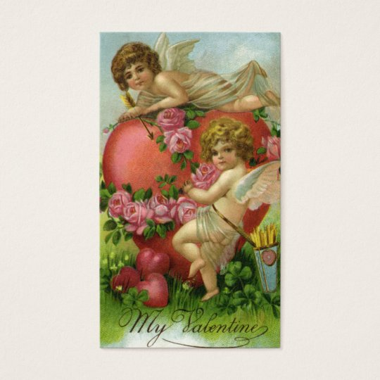 Vintage Victorian Valentines Day Angels Heart Rose Business Card