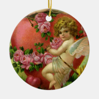 Vintage Victorian Valentines Day Angels Heart Rose Ceramic Ornament