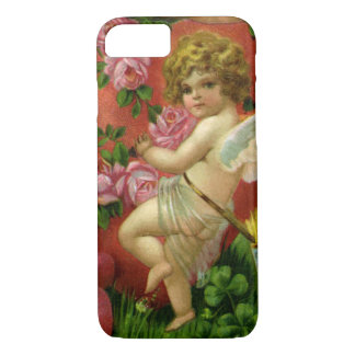 Vintage Victorian Valentines Day Angels Heart Rose iPhone 7 Case