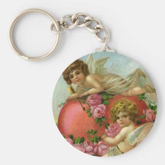 Vintage Victorian Valentines Day Angels Heart Rose Keychain