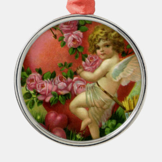 Vintage Victorian Valentines Day Angels Heart Rose Metal Ornament