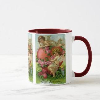 Vintage Victorian Valentines Day Angels Heart Rose Mug