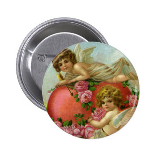 Vintage Victorian Valentines Day Angels Heart Rose Pinback Button