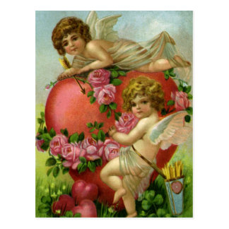 Vintage Victorian Valentines Day Angels Heart Rose Postcard