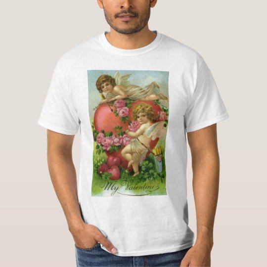 Vintage Victorian Valentines Day Angels Heart Rose T-Shirt