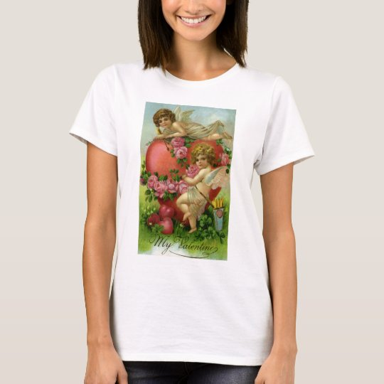 Vintage Victorian Valentines Day Angels Heart Rose T-Shirt