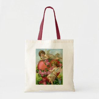 Vintage Victorian Valentines Day Angels Heart Rose Tote Bag
