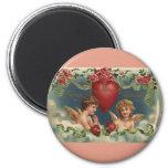 Vintage Victorian Valentine's Day Angels in Clouds Fridge Magnet