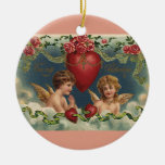 Vintage Victorian Valentine's Day Angels in Clouds Christmas Tree Ornaments