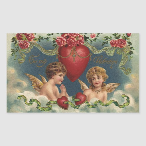 Vintage Victorian Valentine's Day Angels in Clouds Stickers