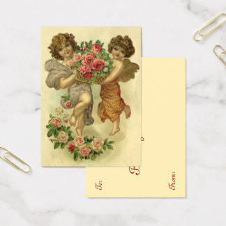 Vintage Victorian Valentine's Day, Angels Roses Business Card