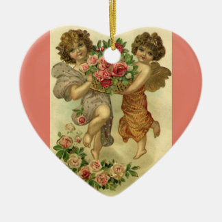 Vintage Victorian Valentine's Day, Angels Roses Ceramic Ornament