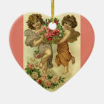 Vintage Victorian Valentine's Day, Angels Roses Double-Sided Heart Ceramic Christmas Ornament