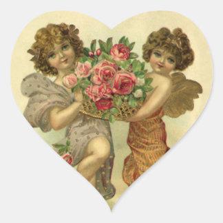 Vintage Victorian Valentine's Day, Angels Roses Heart Sticker