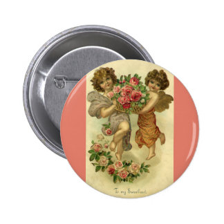 Vintage Victorian Valentine's Day, Angels Roses Pinback Button